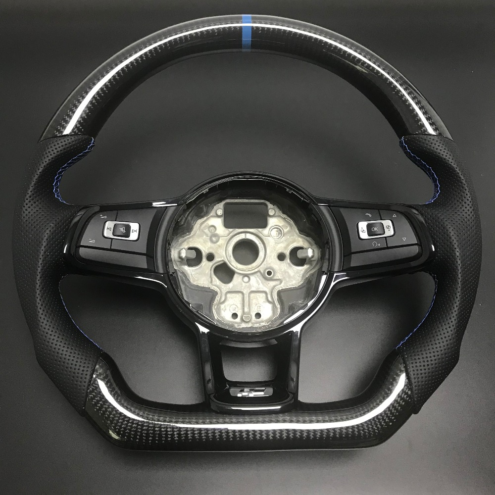 <font><b>Carbon</b></font> Fiber <font><b>Steering</b></font> <font><b>Wheel</b></font> For FIT VW <font><b>Golf</b></font> <font><b>7</b></font> GTI <font><b>Golf</b></font> R MK7 Jetta Passat Polo GTI Scirocco 2014-2018 Replacement image