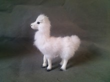 simulation white sheep 15x13cm model toy polyethylene & furs standing alpaca model ,home decoration gift t286