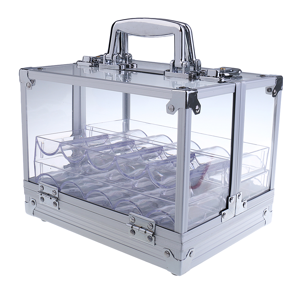 600pc Transparent Empty Acrylic Carrier Poker Chips Storage Box Case with 6 Racks 600 Poker Chip