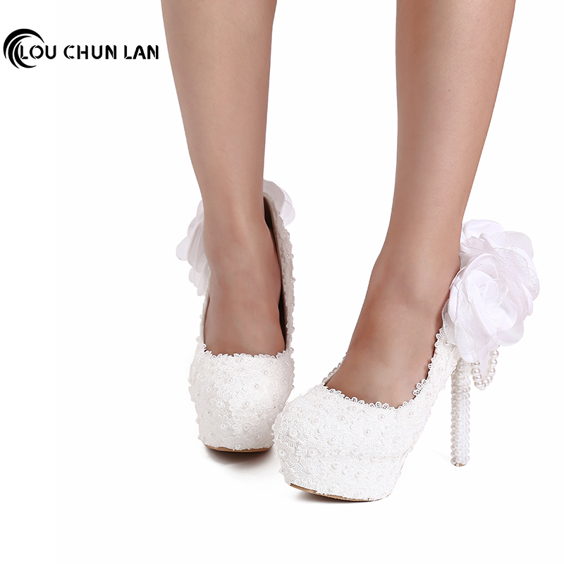 White Lace Flower Wedding Shoes Ultra High Heels Platform Shoes Pearl pendant Thin Heels Shoes Bridal Shoes 14CM Free Shipping