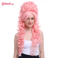 L Email Wig 32inch 80cm Long Cosplay Wigs 6 Colors Curly Black Beige Pink Synthetic Hair