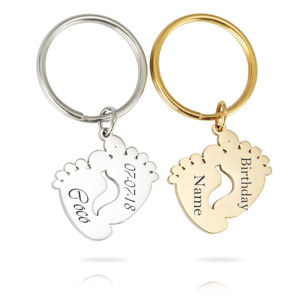 Personalized Customized Names Birthday Baby Feet Keychains Stainless Steel Cute Feet Key Ring For Kids Birthday Gifts