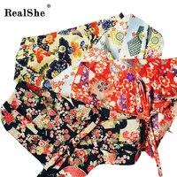 RealShe Ткань Печатных Цветов Японские Гейши Кимоно ОБИ Пояса Створки Галстук Ленты Пользовательские Vintage Пояс Ремень Женщины Аксессуары