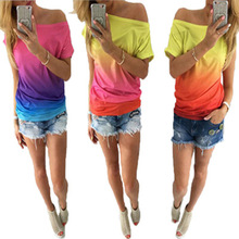 rainbow print graphic tees women gothic tops womens shirts  o-neck polyester casual korean christmas 2018