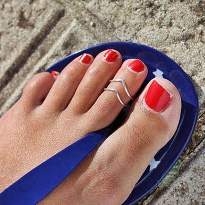 1 قطعة كبيرة V شكل سبائك خاتم اصبع القدم للنساء مثير قابل للتعديل خاتم اصبع القدم أو البنصر أزياء النساء القدم خاتم مجوهرات الأزياء