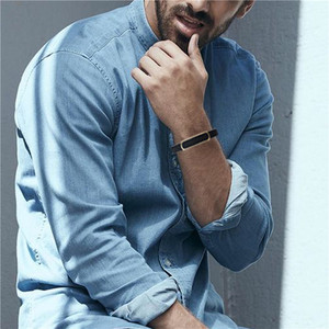 Image 5 - Мужской кожаный браслет HAWSON, браслеты из микрофибры в стиле хип хоп с застежкой из нержавеющей стали, регулируемый браслет