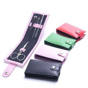 4 Pcs/set Nail Clippers Scissors File Tweezers PVC Bag Case Mini Nail Manicure Tool Set High Quality Nail Care Kits