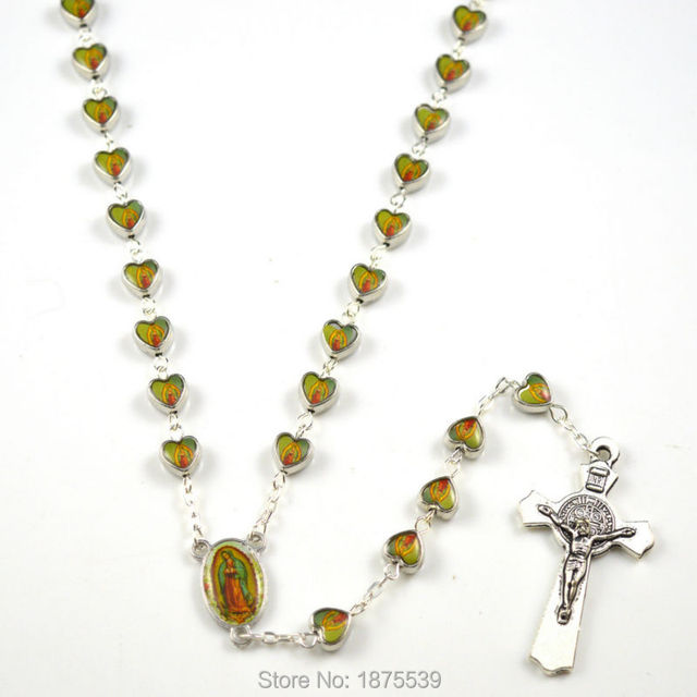 Customize heart alloy bead Our Lady of Guadalupe catholic rosary with st benedict crucifix