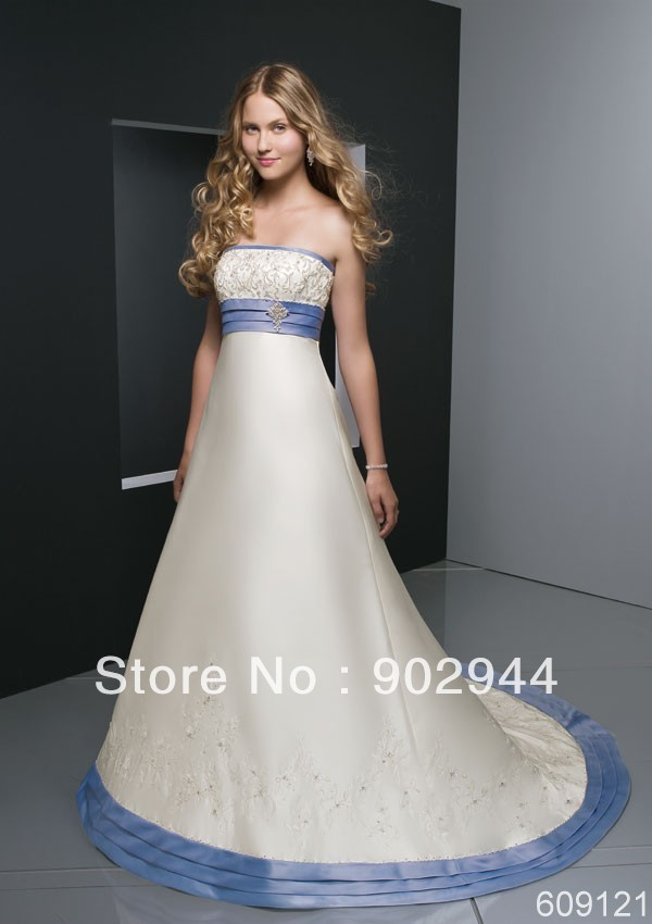 Popular blue and white wedding dresses buy cheap blue and for Light blue and white wedding dresses