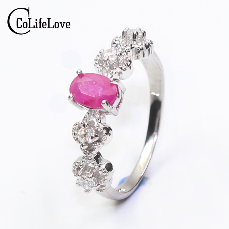 Sweet ruby silver ring for girl 0.5ct 4*6mm natural ruby gemstone ring solid 925 silver ruby ring romantic woman birthday giftSweet ruby silver ring for girl 0.5ct 4*6mm natural ruby gemstone ring solid 925 silver ruby ring romantic woman birthday gift
