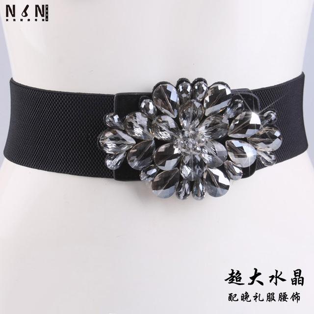 Nova decoração de cristal com acessórios vestido de noite elástico obi pele feminina cintura decoração moda joker preto elástico na cintura
