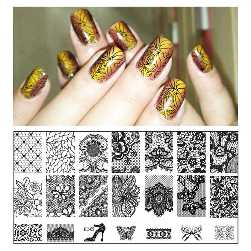 1pcs New Black Flower Lace Nail Stamping Plates Stainless Steel Nail Art Stamp Template Manicure Nail Tools