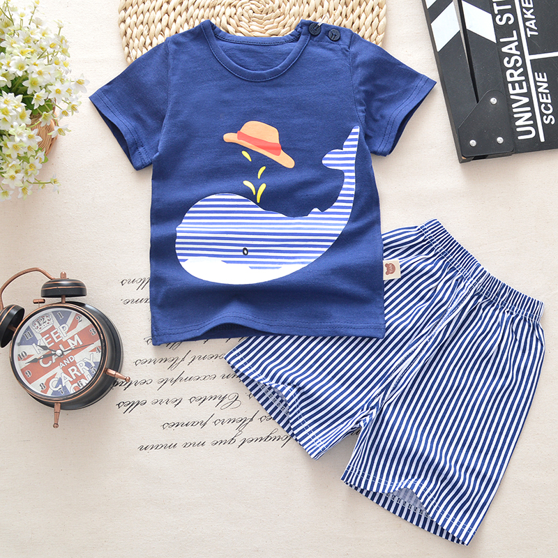 Baby boys clothes summer baby clothes sets t-shirt+shorts 2pieces whale aircraft Printed Clothes newborn sport suits
