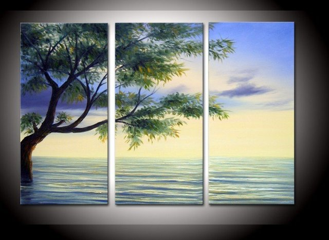 hand painted The Clear water tree High Q. Wall Decor Modern ...