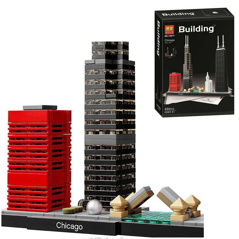Bela 10677 Architecture Building Sets Chicago 21033 Willis Tower Model Building Block 444pcs Bricks Toys Children Gift architecture today