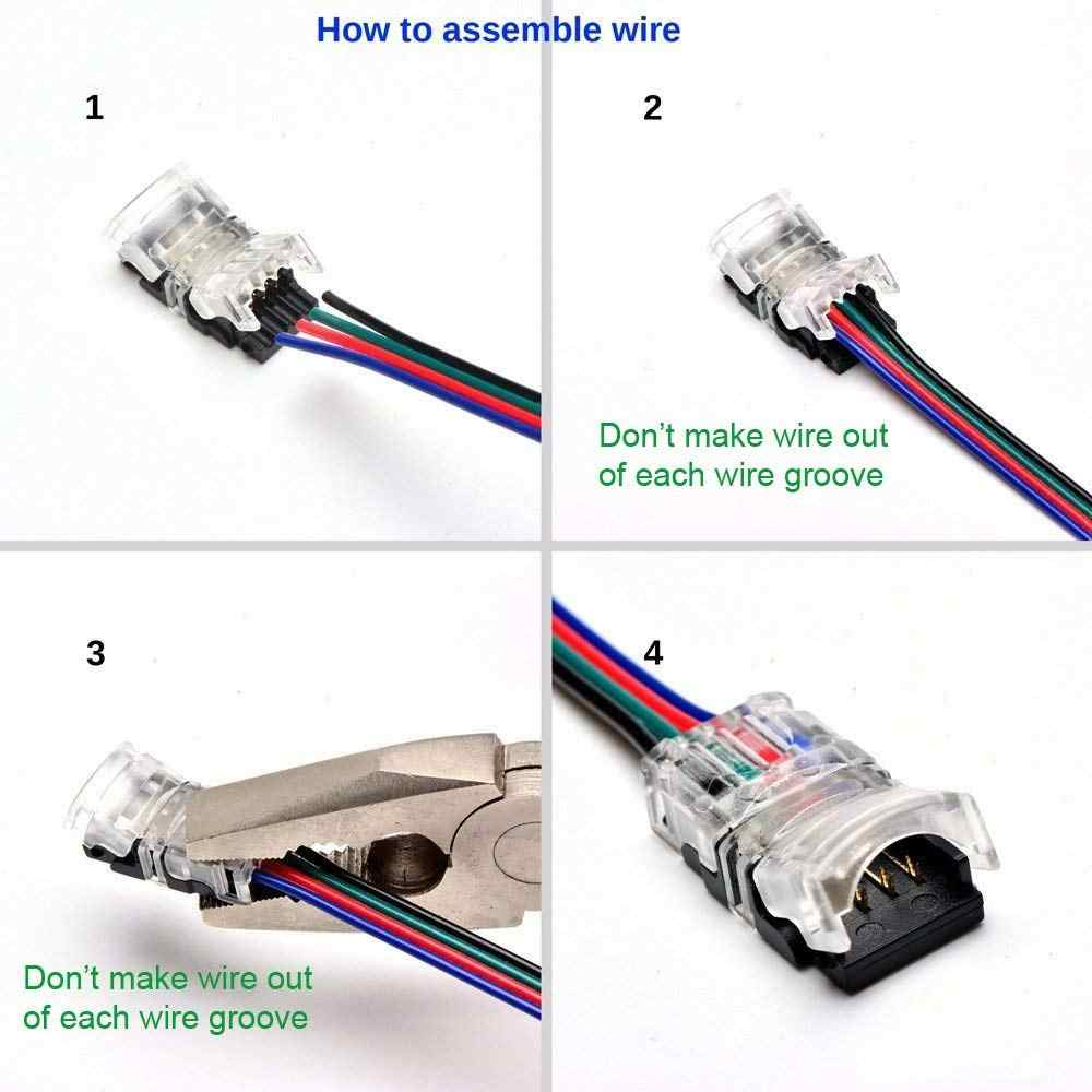 Detail Feedback Questions About 5pcs Rgb Led Strip Connector 4 Pin Quick Adapter Wiring Multi Color 5050smd 5050 10mm Colorful Tape Light For