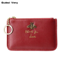 First layer cowhide Europe and the United States big ladies leather short paragraph purse zipper mini lychee with ring key