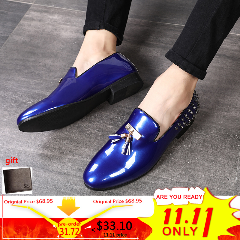 Mens Casual Shoe Wedding Mens Shoes Casual Slip On Red Waterproof Luxury Men  Loafers Shoes Gold 3a6c3792864a