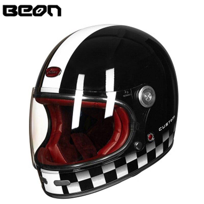 BEON casque intégral helemt fibre de carbone casque de Motocross Vintage casque de moto scooter autocycle rétro ultraléger ECE