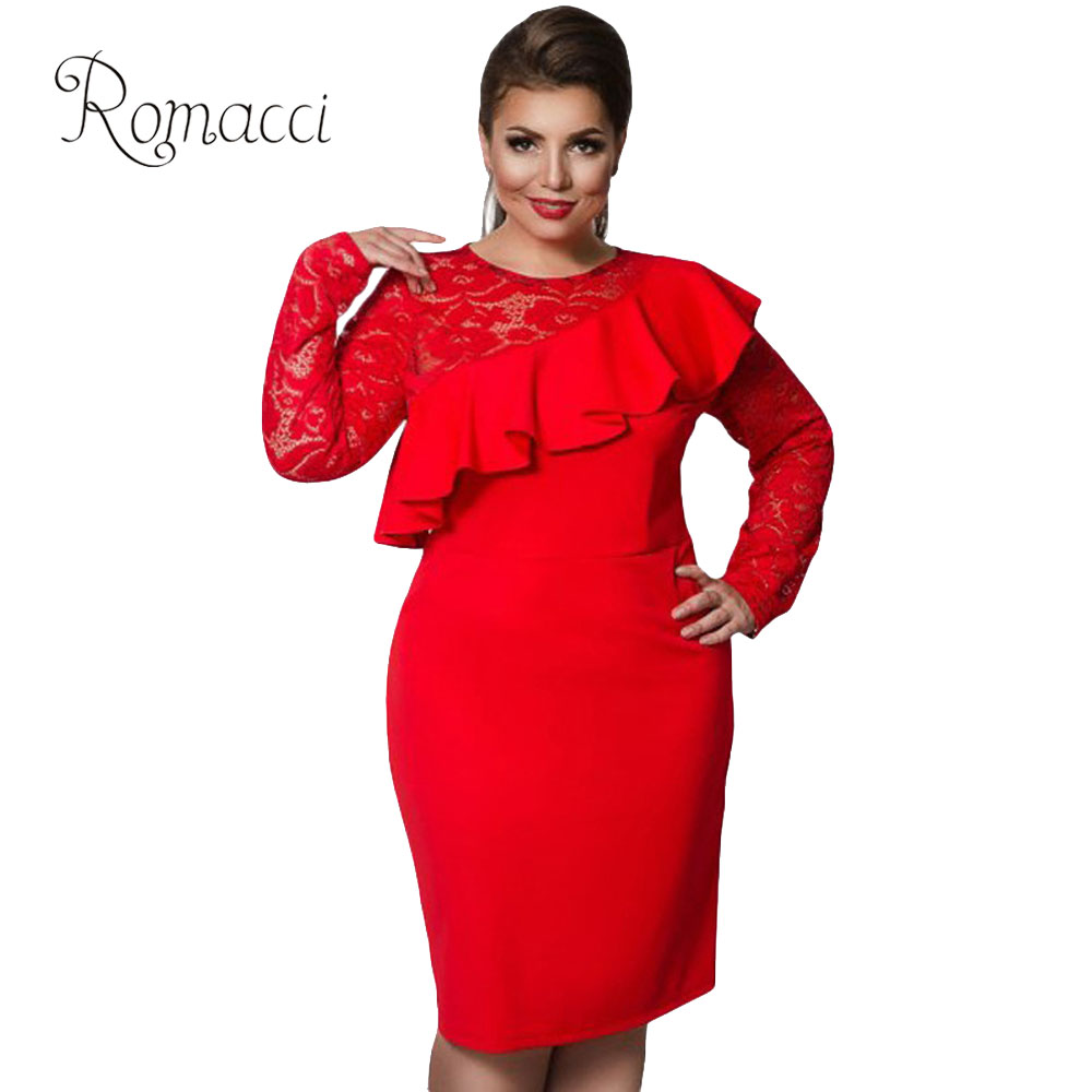 Romacci Women 5XL 6XL Plus Size Dress Lace O-Neck Pencil Party Dresses  Elegant Ladies 0bd2dc9fb44a