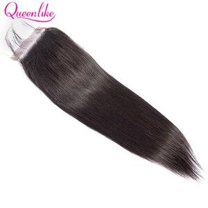 Image 2 - Queenlike ישר 4*6 Kim K סגירת מראש קטף עם תינוק שיער קו שיער טבעי ברזילאי רמי שיער טבעי 4x6 תחרה סגירה