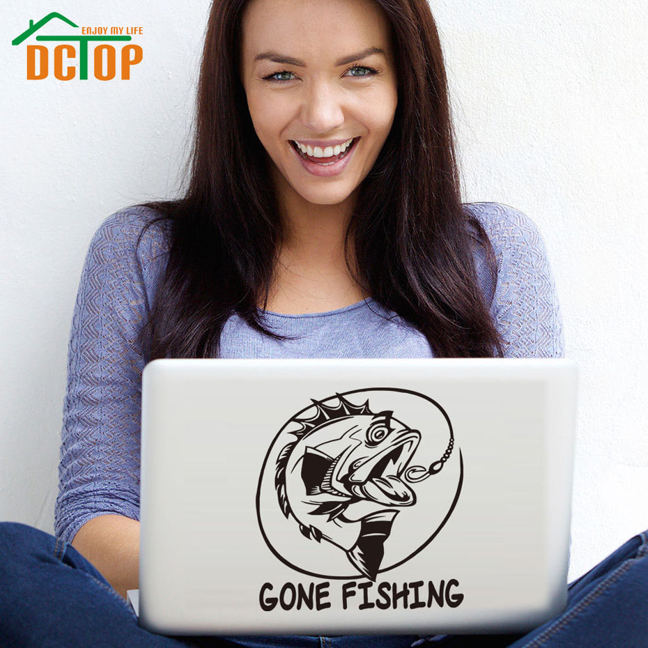 DCTOP Gone Fishing Fish Wall Decals Art Murals Removable Vinyl Wall Stickers Home Decor High Quality Laptop Sticker