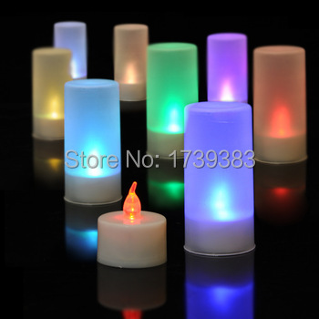 20pcs lot Colorful Voice Control LED Flameless Candle Light Romantic creative Propose Party Electronic Flickering Tea Lights in LED Night Lights from Lights Lighting