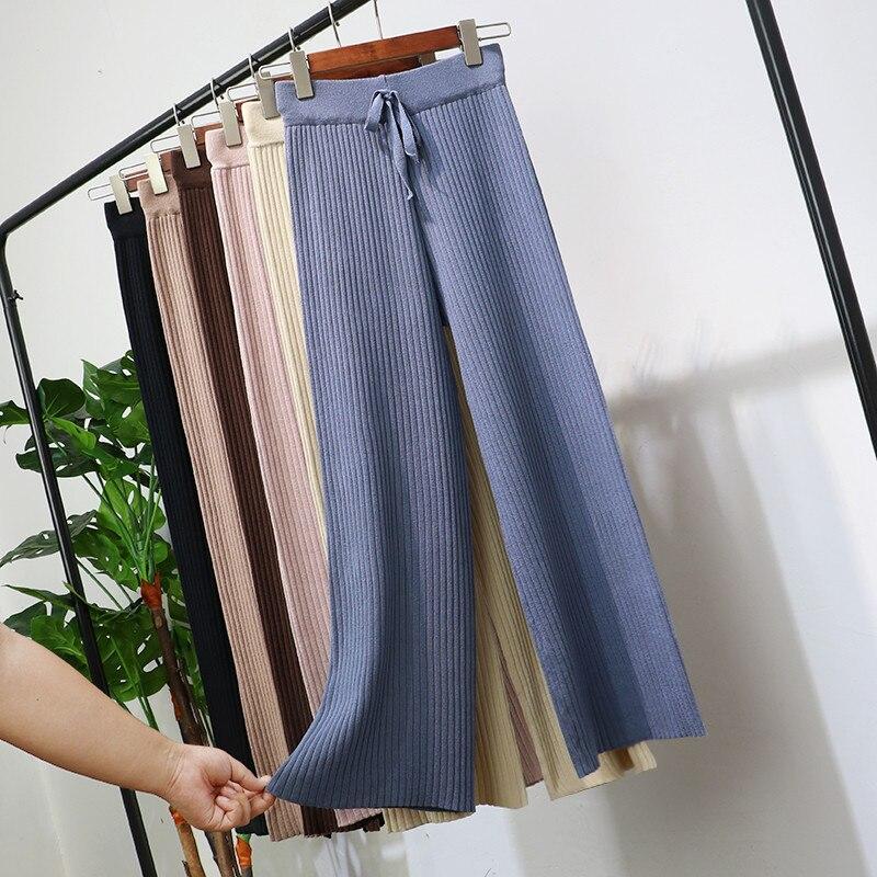 2018 Women Long Trousers Autumn Winter Elastic High Waist Knitted   Pants   Female   Wide     Leg     Pants   Casual Loose   Pants   Plus Size A1206