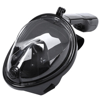 LGFM Swimming Diving Snorkeling Full Face Mask Surface Scuba For Gopro L XL Black