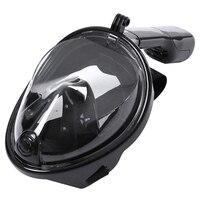 LGFM Swimming Diving Snorkeling Full Face Mask Surface Scuba For Gopro L XL Black