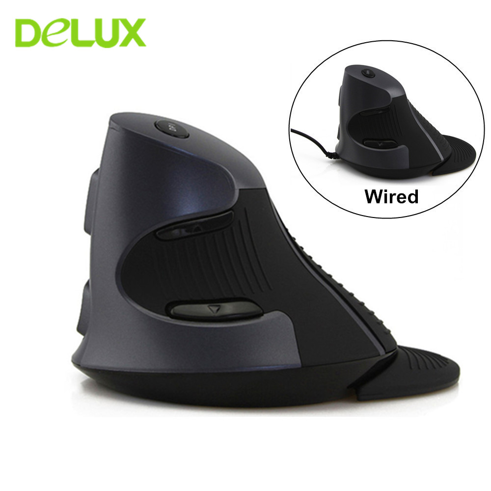 Delux M618 Wireless Mouse 2.4g Ergonomic Vertical Mouse 1600 DPI Wireless Gaming Mice Computer USB Optical Mause for PC Laptop image