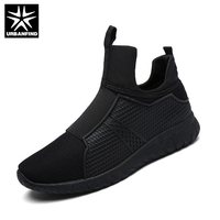 URBANFIND Men Casual Shoes Breathable Slip On Flats EU 39 44 Men Comfortable Shoes Black White