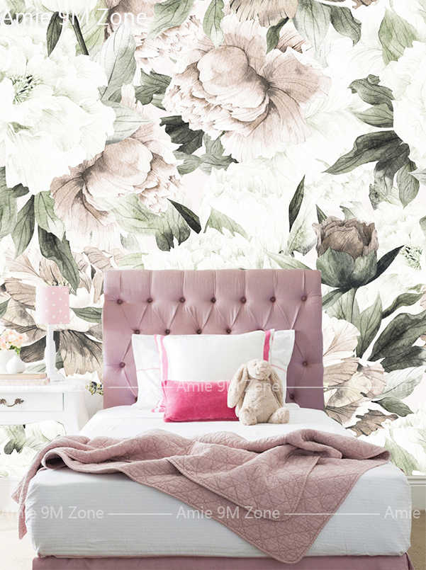 Amie 9M Zone customerize size mural wallpapers girls bedroom floral  wallpapers baby pink and leaf discount sale