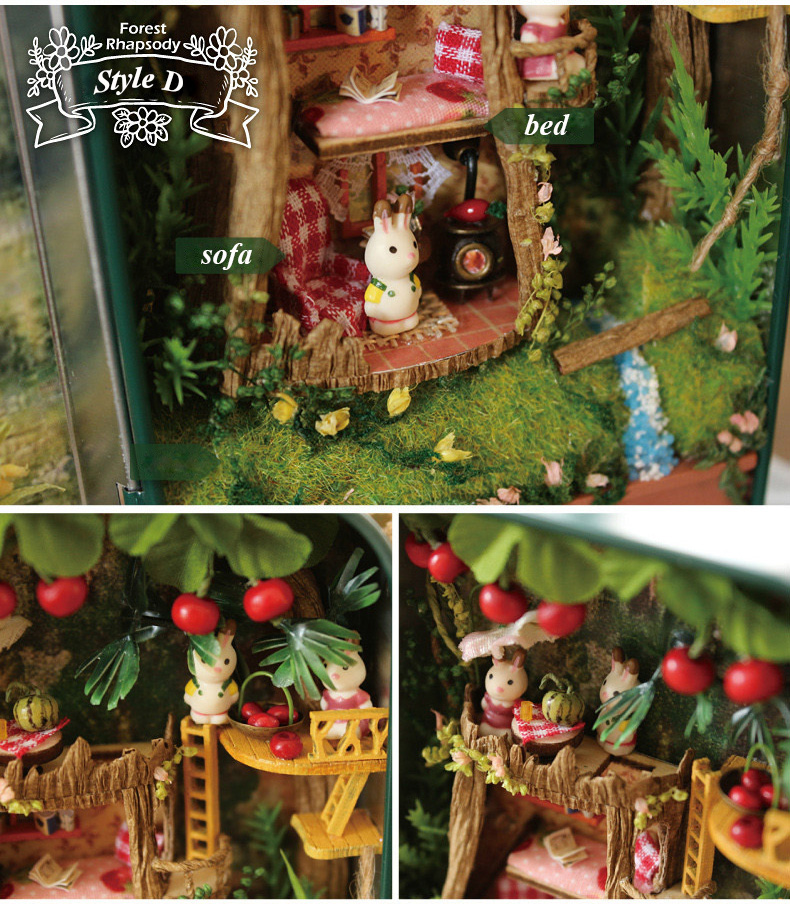Box Theatre Forest rhapsody Doll House 3D Mini DIY Miniature Wooden Puzzle Dollhouse Furniture Decoration Toy for Birthday Gift  (6)