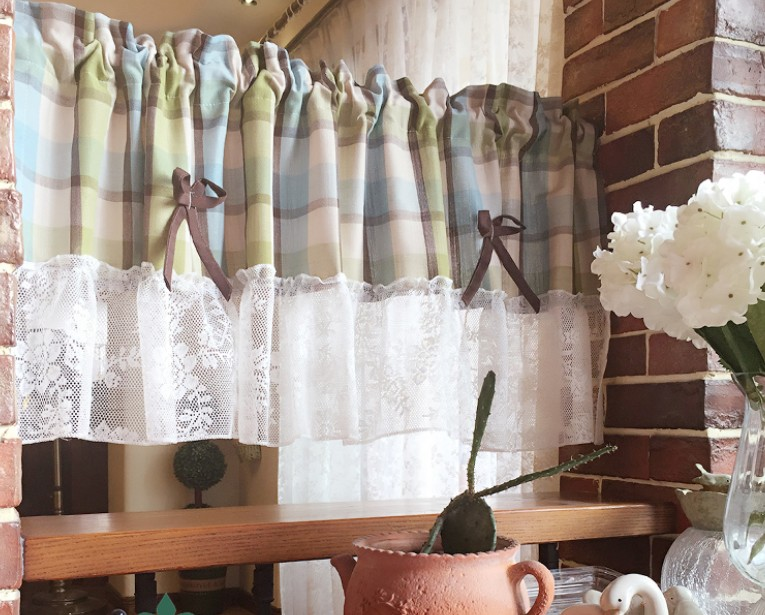US $13.77 5% OFF|Kitchen Curtain White Lace Green Beige Plaid Embroider  half Cafe Curtain for Kitchen Living room Decorative Cabinet Curtain  AA45-in ...