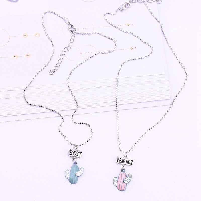 1 مجموعة (2 قطع) أزياء سبائك الصبار أفضل الأصدقاء قلادة قلادة فتاة مصنع قطرة BFF قلادة الأطفال مجوهرات هدية ، HJ002
