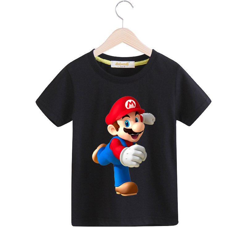 Children Summer Tee Tops Clothes For Boy 100%Cotton 3D Mario Print T-shirt Girls T Shirt Clothing For Kids Cartoon Costume TX048 3d florals print cover placket shirt