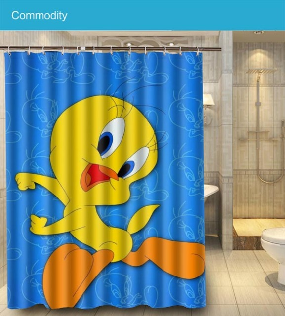 Custom Good Quality Tweety Bird Funny Shower Curtain 180x140cm Waterproof  Fabric Shower Curtain For Bathroom