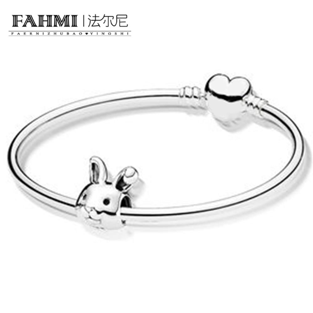 FAHMI 100% 925 Sterling Silver New 1:1 Charm Cute Rabbit Zodiac Rabbit Bracelet Set Fit DIY Birthday Present