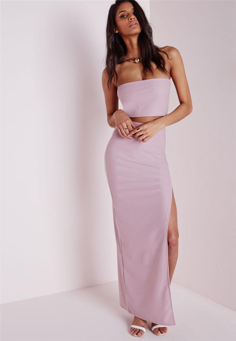 Sexy Women Long Maxi Dress Side Split Off The Shoulder Strapless