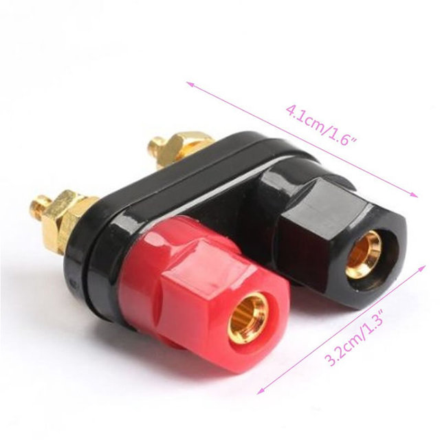 2Pcs/Lot 4MM Banana Plug Connecter Gold Plate Binding Post in Wire Connectors Speakern Terminal