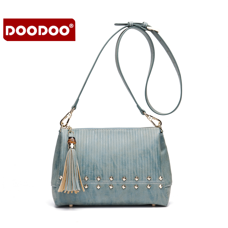 DOODOO Women Bag Genuine Leather Famous Brand Crossbody bags handbags women famous brands European Fold Style Vintage new T763 doodoo women bag genuine leather famous brand tassel bags handbags women famous brands bolsa femininas woman handbags new t503