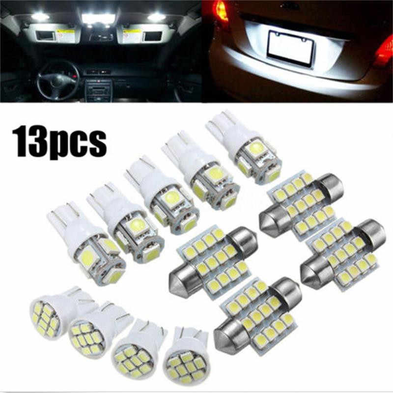 Modern 13 Pcs/Set  White LED Lights Kit for Stock Interior Dome License  Brightness Plate Lamps DC 12V