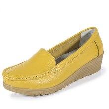 Kostenloser Versand Frauen Schuhe Vier Jahreszeiten 2017 Frauen Echte Lederne Schuhe des Frauenebenen Süße Beiläufige Allgleiches Mutter Schuhe Gehen 052