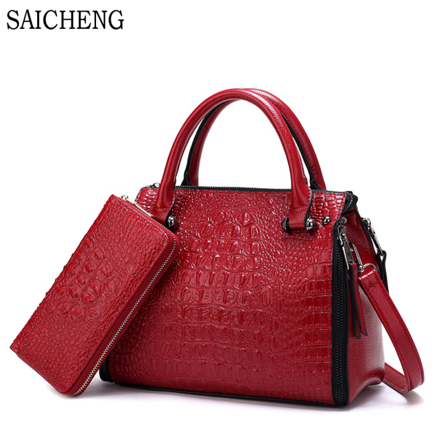 SAICHENG 2 Set Alligator Luxury Handbags Women Bags Designer Women's Handbags And Purses 2017 Leather Crossbody Bag Ladies SAC