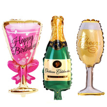 1pcs Champagne Wine Bottle Cup Wedding Decorations Birthday Party Aluminium Foil Balloon Bottle/Beer Cup Gift Inflatable Ball inflatable model toy inflatable beverage bottle 2m inflatable beer can wine barrel with full digital print for adversting