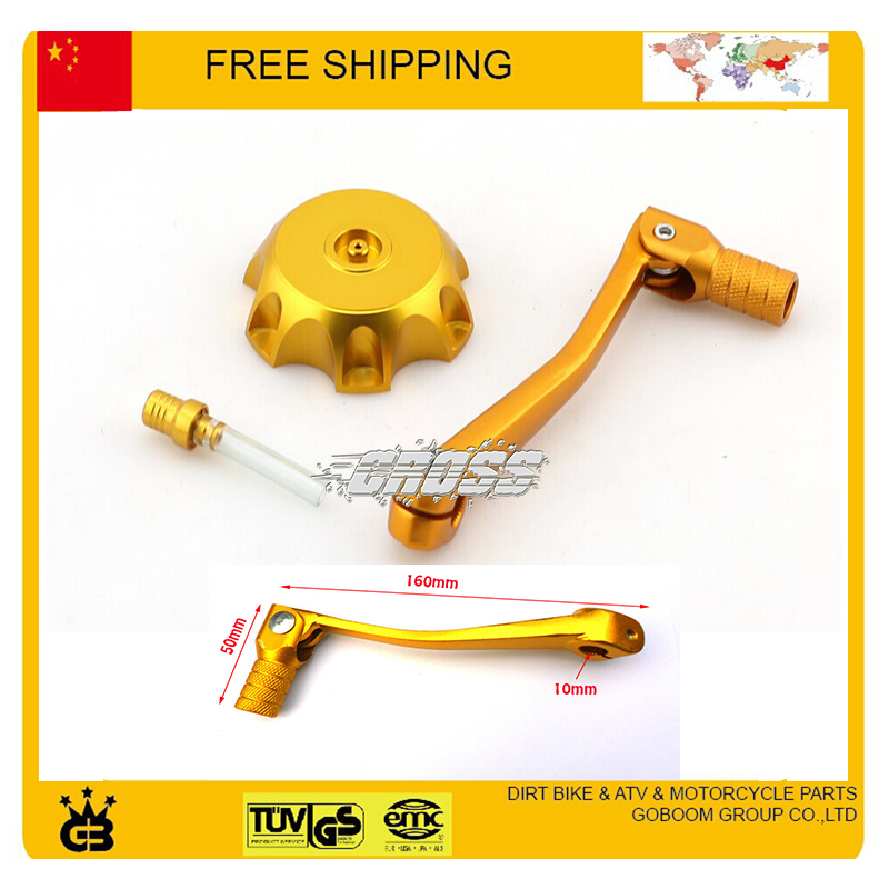 Gold FUEL gas CAP + gear shift lever Fit for 50CC 110CC 125CC 250CC Dirt Pit monkey bike motorcycle free shipping