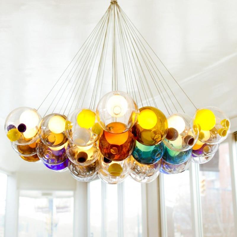 Modern Colorful Glass Pendant Light Hanging Lamp Led