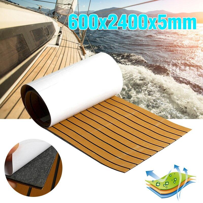 Feuille de platelage de teck de bateau auto-adhésif EVA mousse Faux Yacht autocollant 2400x600x5mm brun noir Marine pièces de matériel de plancher