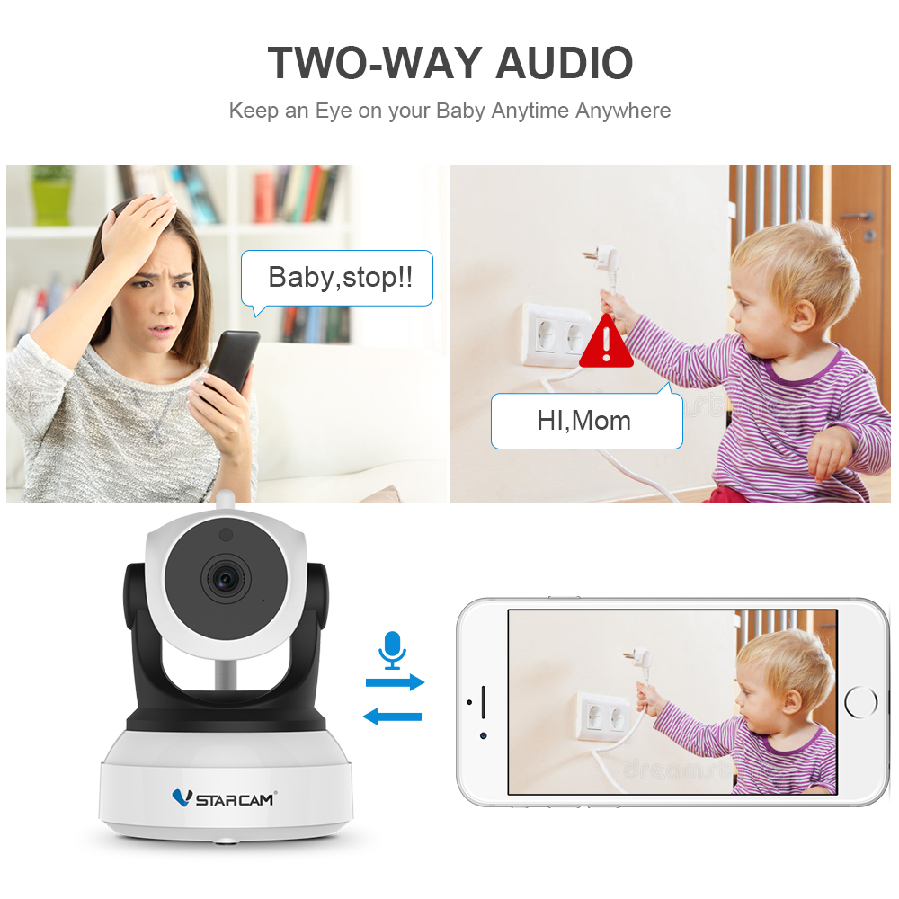 """""""Vstarcam C7824WIP Baby Monitor"""" """"wifi"""" 2 krypčių - Sauga ir saugumas - Nuotrauka 3"""
